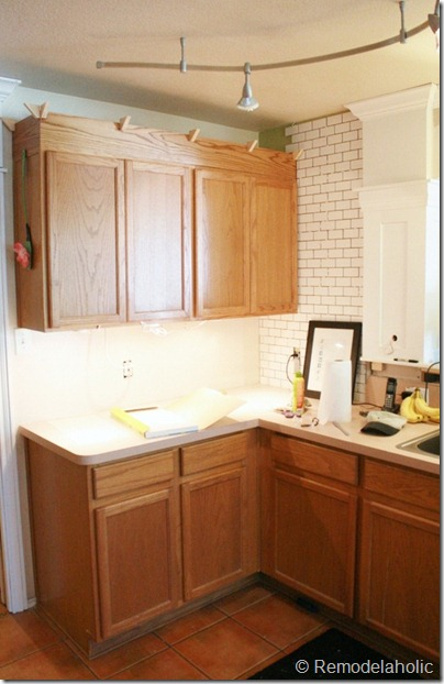 Kitchen Subway Tile Backsplash remodelaholic | white subway tile back splash tutorial