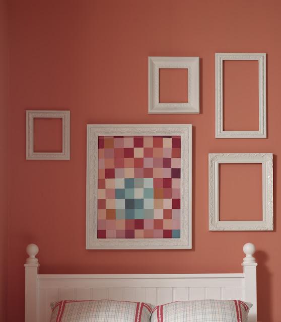 Beso quarto coral estilo com colagem quadro