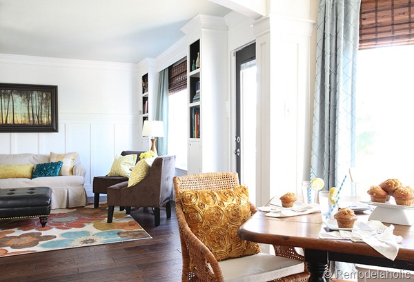 Dining Room updates bamboo shades-bench-wicker chairs white hutch blue and yellow (10)