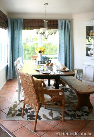 Dining Room updates bamboo shades-bench-wicker chairs white hutch blue and yellow (11)