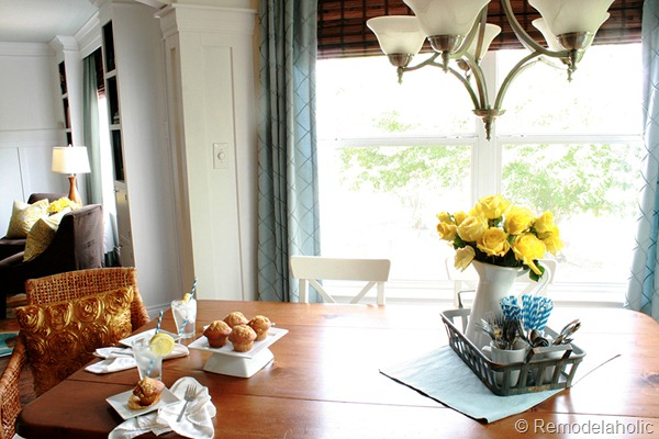 Dining Room updates bamboo shades-bench-wicker chairs white hutch blue and yellow (12)