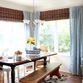 Dining Room updates bamboo shades-bench-wicker chairs white hutch blue and yellow (1)featuered image