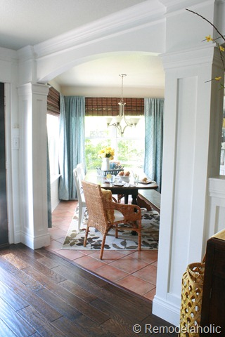 Dining Room updates bamboo shades-bench-wicker chairs white hutch blue and yellow (8)