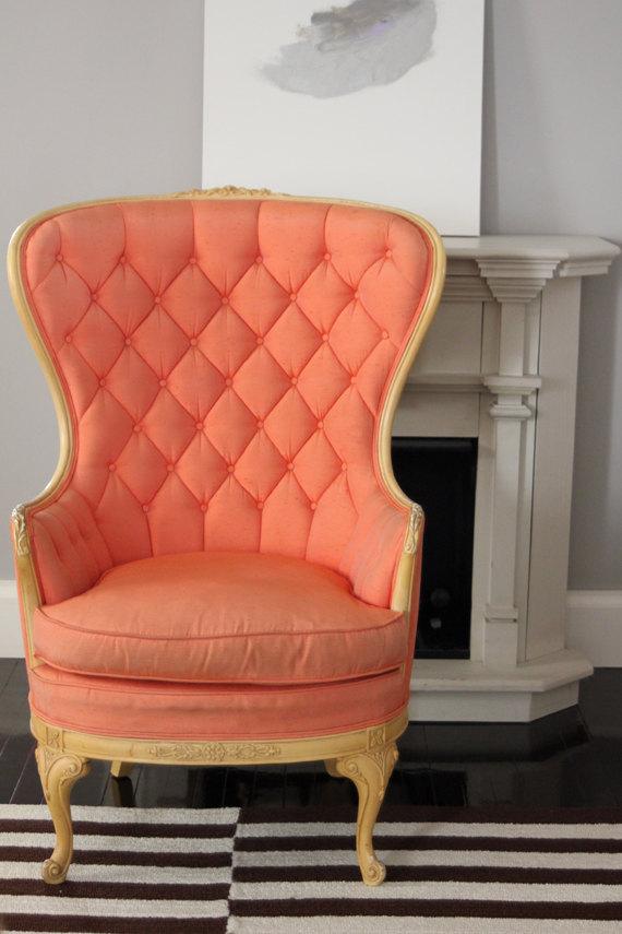 Etsy tufados cadeira coral