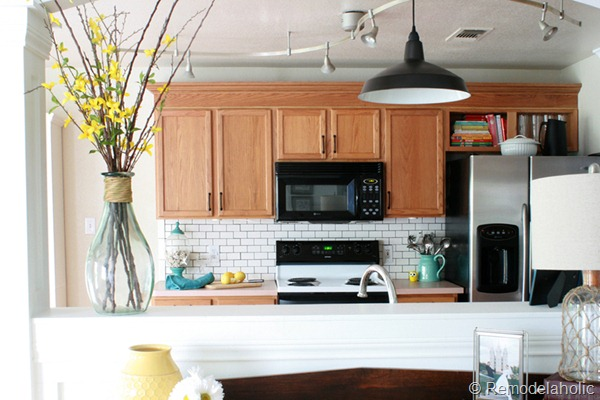 Kitchen review and reveal diy - Builder grade oak kitchen cabinets ...