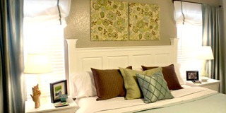 Headboard building tutorial from kitchen cabinets door upcycle