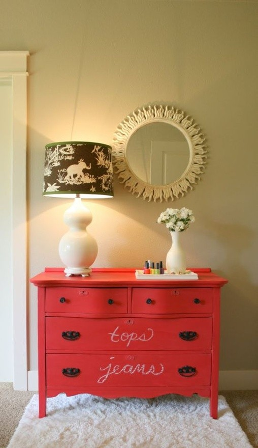 House of Fifty red chalkboard dresser