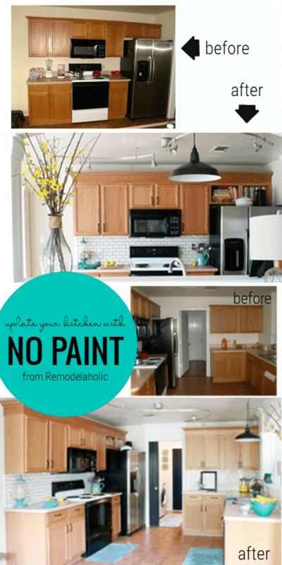 How To Keep Your Oak Cabinets And Update Your Kitchen From Remodelaholic