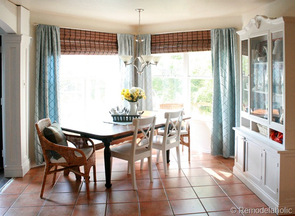bamboo shades in dining room before and after