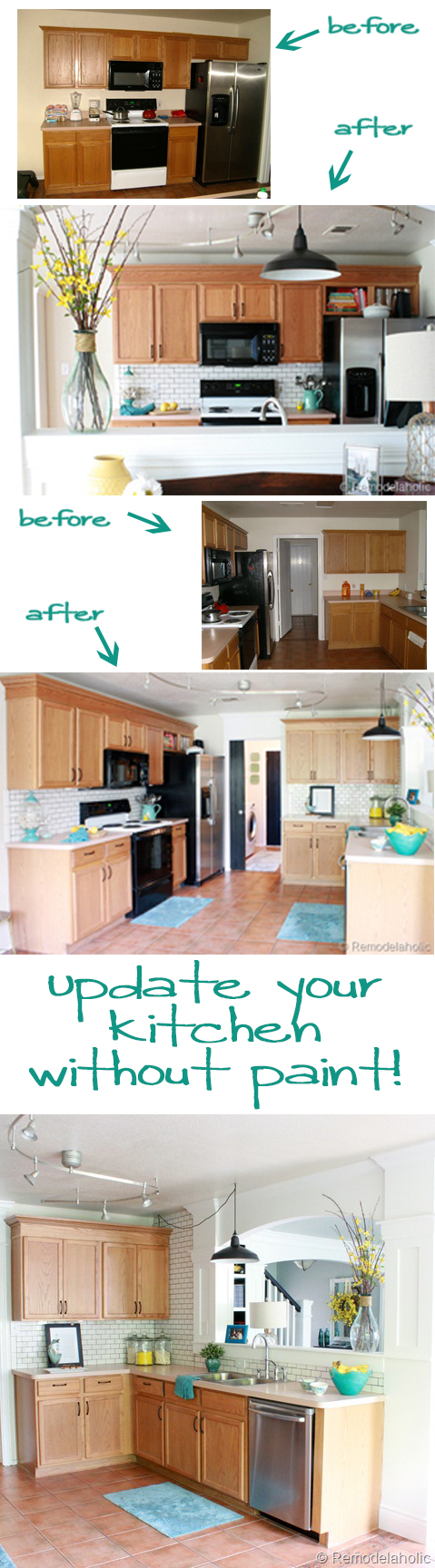 Kitchen Makeover without painting @remodelaholic #kitchen #Makeover #wood_cabinets