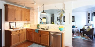 Kitchen makeover without painting cabinets white subway tile back splash tutorial