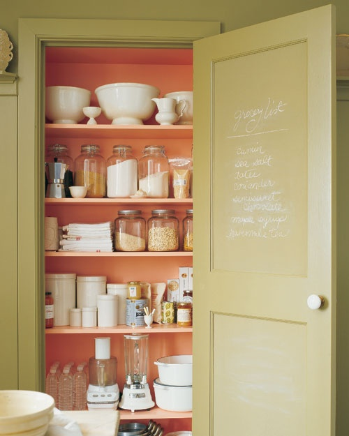 Martha Stewart coral pantry shelves