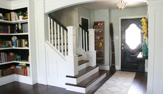 Newell post stari remodel project DIY wood stair treads from carpet (1)