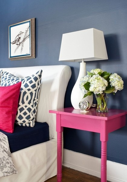 Pink And Navy Bedroom Inspiration