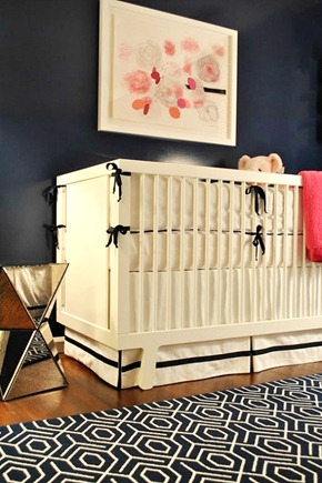 Pink and navy baby nursery