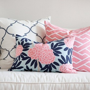 Pink and navy pillows