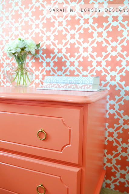 Sarah M. Dorsey Designs coral bedside table