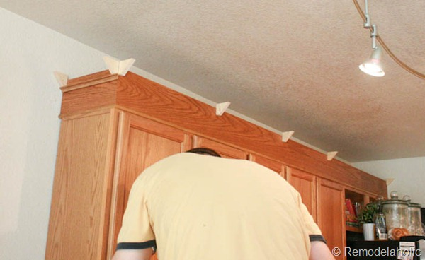 Interior How To Put Crown Molding On Kitchen Cabinets update builder grade cabinets fast without painting upgrade oak kitchen with crown moldings 19