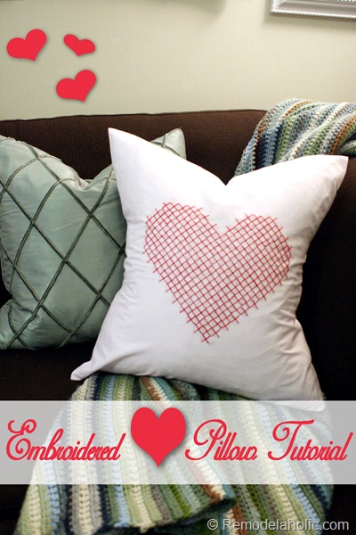 Valentine Pillow cover heart embroidery large scale pink red pillow heart (12) pin button