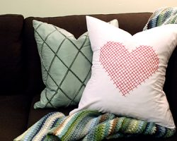 Valentine Pillow cover heart embroidery large scale pink red pillow heart