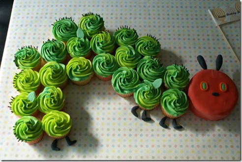 cocoa cupcakes hungry catepillar cake