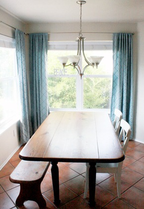 drapes hung in dining room