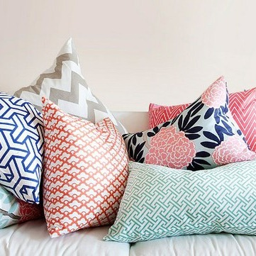 caitlin wilson textiles pink and navy throw pillow inspiration