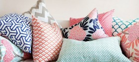 pink and navy throw pillow