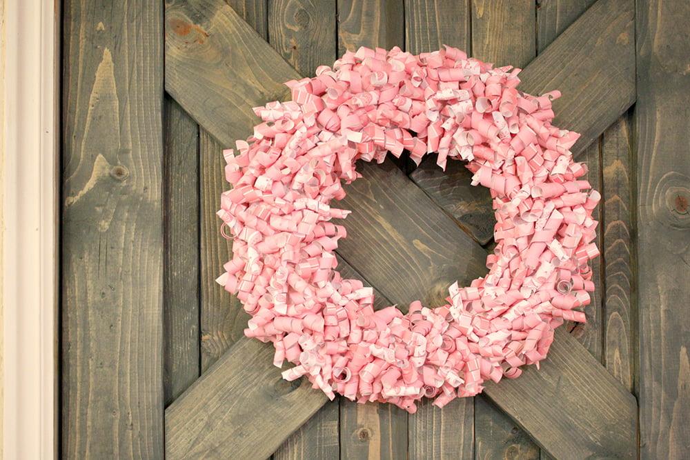Pink Paper Curl Wreath Valentine Wreath Tutorial (17)
