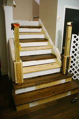 i left the 5 upper stairs carpet and while it may seem strange it was the easiest place to stop the wood since our