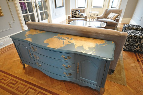 Brooklyn Limestone gold world map dresser
