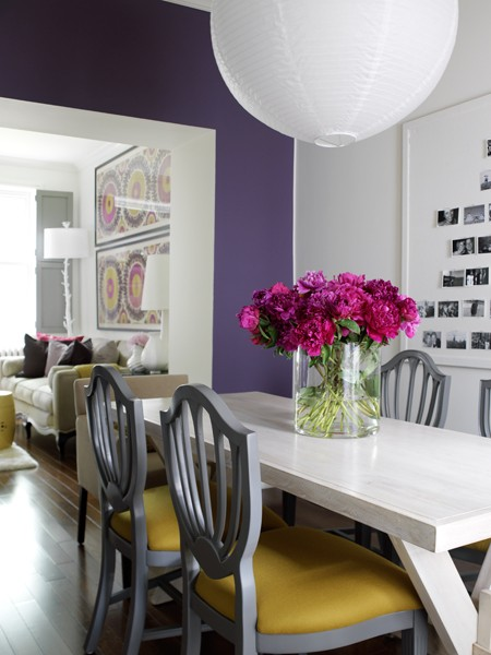 Canadian House & Home dining with purple wall