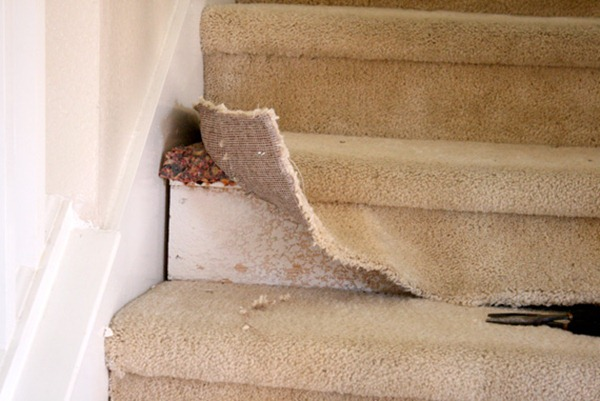 Carpeted Stairs To Wood Stair Remodel  Ripping Out Carpet (5