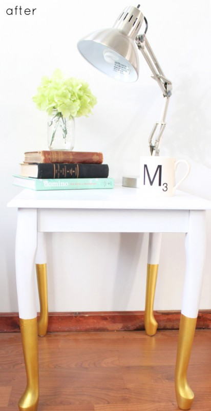 Design Sponge dip dyed gold table