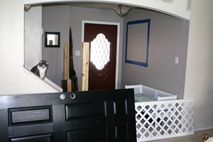 Entry updates black door white moldings entry table columns (9)