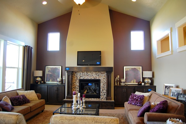 Paint purple home living room home decorating ideas Purple accent wall in living room