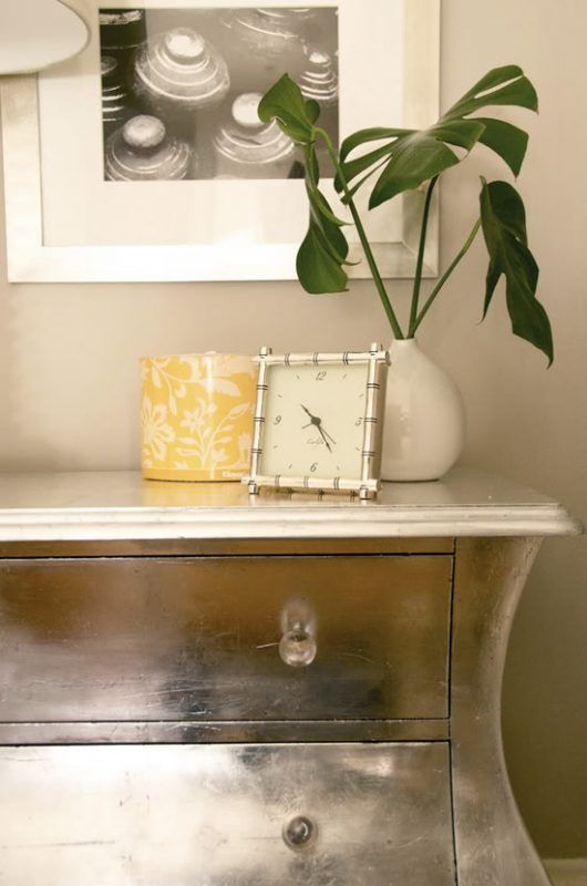 Little Green Notebook diy silver leaf dresser