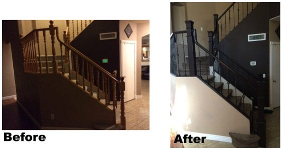 Remodelaholic-inspired banister remodel, before and after