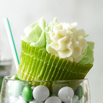 Shamrock Milkshake Cupcakes for St. Patricks Day by BHG
