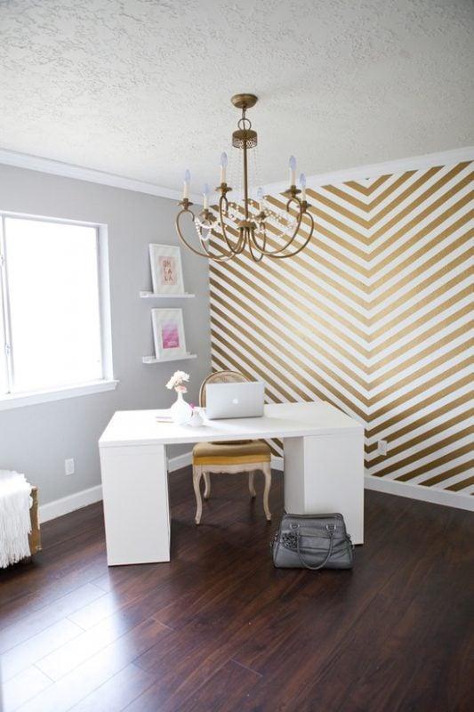 Fabulous So Shay gold chevron wall