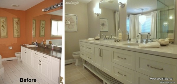Elegant neutral bathroom renovation diy - Diy bathroom remodel before and after ...