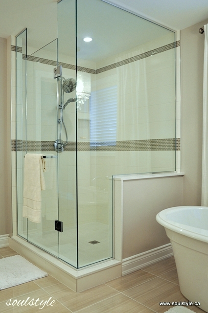 Bathroom Knee Wall remodelaholic | elegant neutral bathroom renovation
