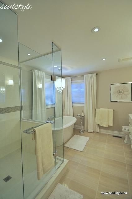 Great Soul Style wall color This Master bathroom renovation