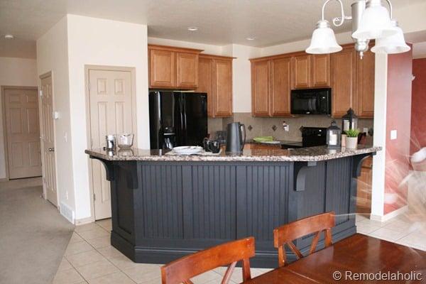 Elegant black board and batten kitchen island makeover
