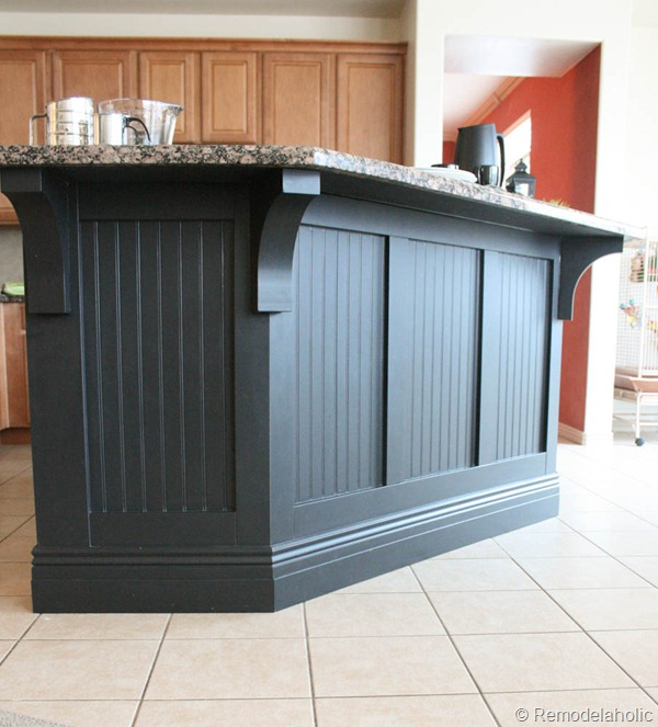 Perfect black board and batten kitchen island makeover