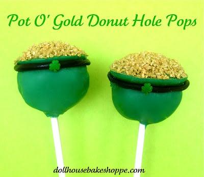 pot o gold donut hole pops for St. Patrick's Day by dollhouse bake shoppe