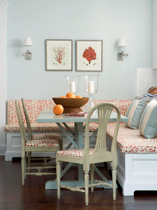BH&G coral and blue banquette