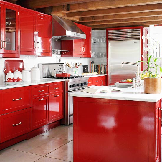 BH&G laquered red cabinets
