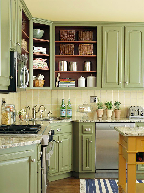 Beautifully colorful painted kitchen cabinets for Kitchen cabinets no doors