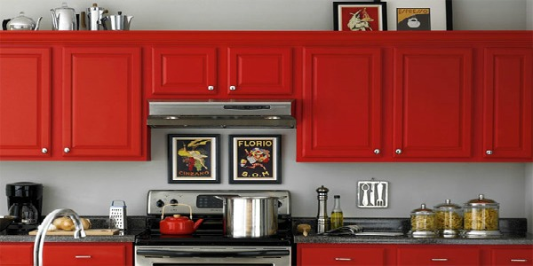 Beautifully colorful painted kitchen cabinets for Grey kitchen cabinets with red walls